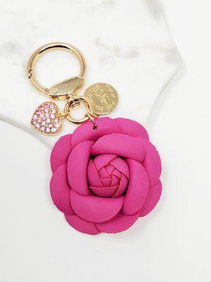 Pink camellia flower heart bagcharm keychain (Last one) for Sale in Baldwin Park, CA