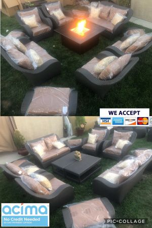 Huge patio furniture set with fire pit sunbrella for Sale in Norco, CA
