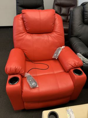 Electric Power Lift Chair Massage Sofa Recliner Heated Chair Lounge w/Remote Control Dual USB Charging Ports 6160-7040 Red for Sale in Commerce, CA