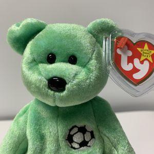 RARE Retired Kicks the Soccer Bear Ty Beanie Baby w/Tag Errors 1998/1999 for Sale in Dalton, GA