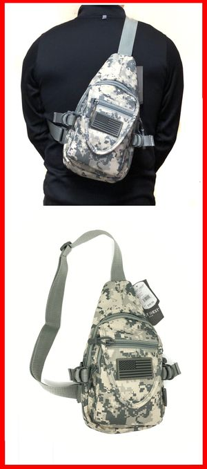 NEW! Camouflage Small Compact Tactical Military Style Sling Side Crossbody Bag gym bag work bag travel backpack molle camping hiking biking chest bag for Sale in Carson, CA
