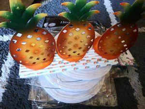 "🍍Pineapple Luau Party supplies, 5 paper lanterns 6"" diameter, 3 🍍votives, 25 🍍 straws for Sale in San Diego, CA"