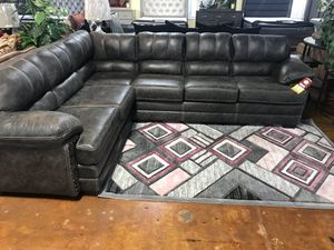 Ash brown leather sectional sofa with nailhead accents for Sale in Chicago, IL