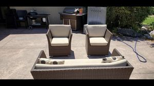 Patio set excellent condition 3 pieces with cushions and pillows for Sale in Centennial, CO