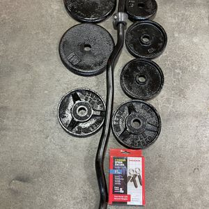 Curl Ez Bar With Weights for Sale in Lake Stevens, WA