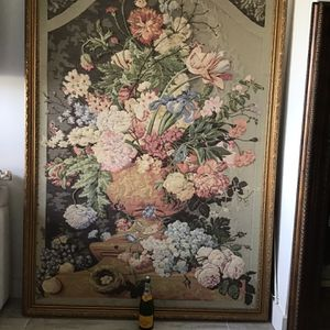 HUGE EUROPEAN TAPESTRY FRAMED IN WOOD ART WALL LEANING PICTURE... STUNNING 6.5 Feet High By 5 Feet Wide!!! for Sale in Palm Beach, FL