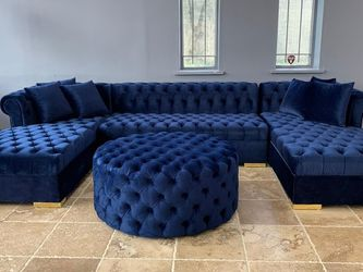Blue Velvet Double Chaise Sectional ↗️$39 Down Payment 100 Days Same As Cash for Sale in Austin,  TX