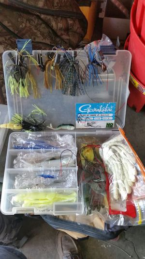 Fishing worms and lures/jigs/plano case for Sale in Los Angeles, CA
