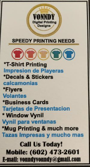 T-shirt, decals, business cards printing for Sale in Glendale, AZ