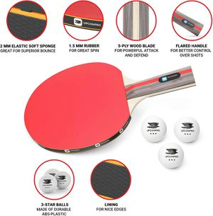 Professional Ping Pong Paddle Set - 2 Premium Table Tennis Racket Set, 3 Balls, Recreational Racquet Kit, Durable Handle & Rubber, Portable Case Bag for Sale in Riverside, CA