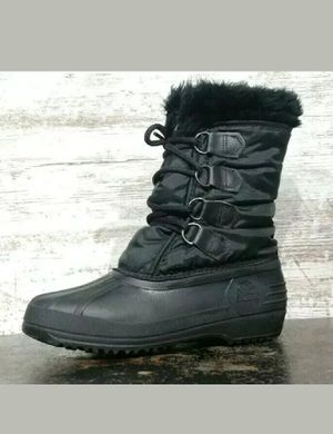 Womens Sorel Winter Pac Boots Sz 7 Used Black Nylon Rubber Made in Canada Fur for Sale in Cuyahoga Falls, OH