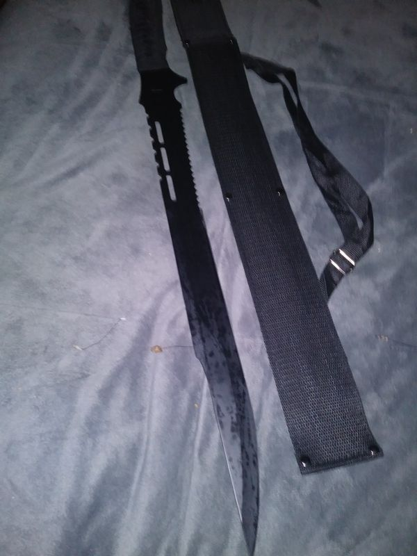 THE AX BLACK HIGH CARBON STEEL SWORD=TOOL/ CAMPING MACHETE/SABOR. WITH SHOULDER harness