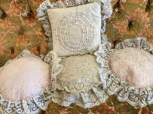 Boho bohemian lace granny pillows 10$ each for Sale in San Diego, CA