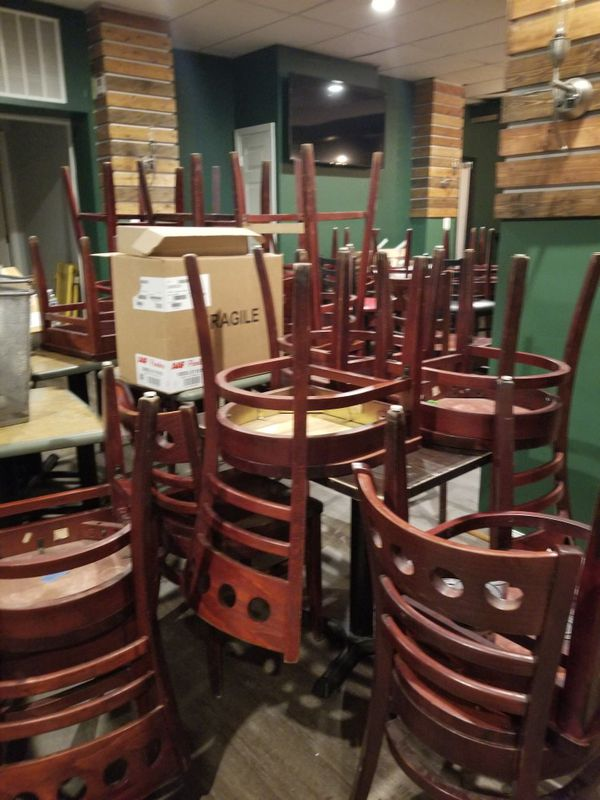 Restaurant Chairs ( high and regular) plus tables