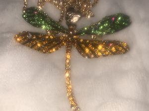 Betsy Johnson crystal dragonfly pendant brooch with free chain for Sale in Downers Grove, IL