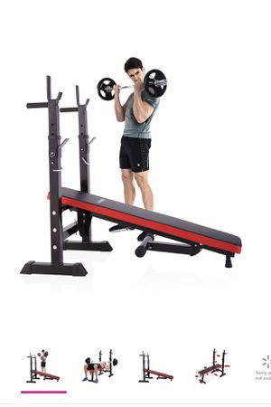 Folding Weight Bench With Rack Adjustable Lifting Strength Gym Workout for Sale in Alexandria, VA