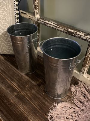2 for $15 Farmhouse Buckets/Vases for Sale in Greensboro, NC