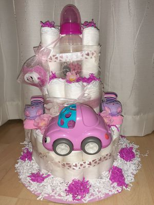 IT'S A GIRL! Homemade Diaper Cake for mom-to-be for Sale in Coconut Creek, FL
