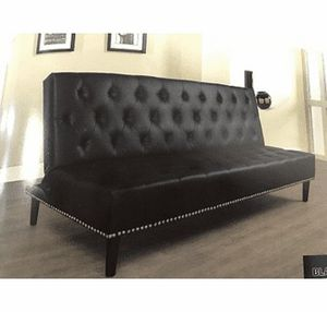 "75"" ( 6 feet 3 inches) Long Black tufted Futon Sofa bed (new) for Sale in Daly City, CA"