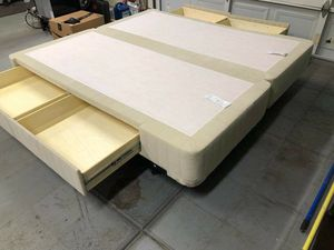 King size bed stowaway box springs with metal bed frame on wheels for Sale in Winchester, CA