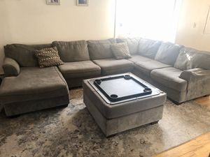 Beautiful Grey Large Sectional Couch with flip over table($2500 value) for Sale in Great Neck, NY