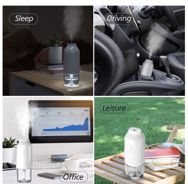 USB Portable Mini Humidifiers with Night Light & Water Tank, Great Cool Mist Air Diffuser with Adjustable Mist Modes, Perfect for Bedroom Office Car