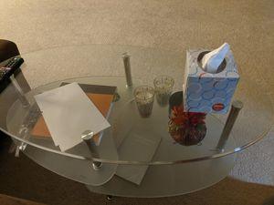 Walker Edison Oval 3 tier glass coffee table for Sale in Santa Clara, CA