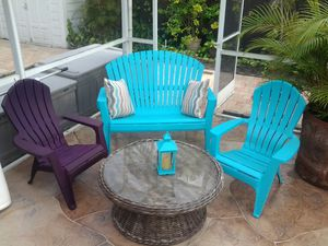 Outdoor furniture set 2 chairs 1 bench chair w/ cushions wicker glass top coffee table seaside blue nice for Sale in Pompano Beach, FL