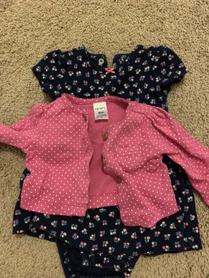 Carter's blue floral skirted romper with cardigan for Sale in Starkville, MS
