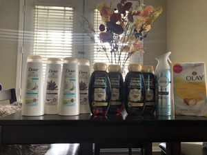 4dove shampoo and 4 garnier whole blend shampoo, 1 febreze spray, 6 bar olay soap for Sale in Riverside, CA