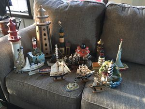 Boat and lighthouse collection 18 pieces wood, Ceramic, etc. $95 or best offer see photos for Sale in Varna, IL