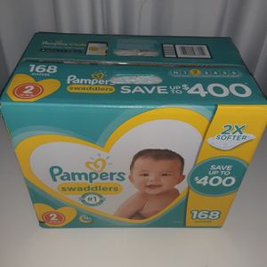 Pamper Swaddlers 2X Softer Count 168 Size 2 for Sale in Atlanta, GA