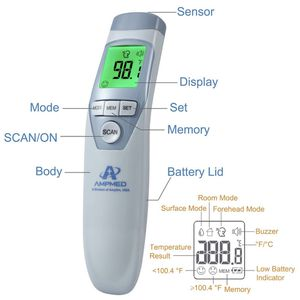 Amplim Hospital Medical Grade Non Contact Clinical Infrared Forehead Thermometer for Baby and Adults, 1701, Serenity for Sale in Houston, TX
