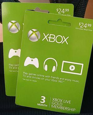 2 Xbox $25.00 membership card for Sale in Manassas, VA