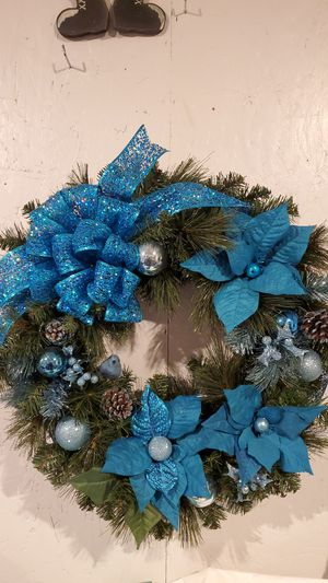 "Blue Hand Made Wreath at Curtis Country 24"" for Sale in Spanaway, WA"