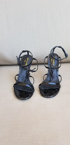 YSL CASSANDRA SANDALS WITH BLACK LOGO IN PATENT LEATHER for Sale for sale  Houston, TX
