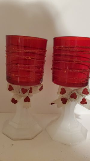 Red and white candle holders for Sale in Nicholson, GA