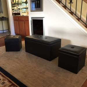 Brand new 3 pc storage ottoman set. Free curbside delivery included for Sale in El Sobrante, CA