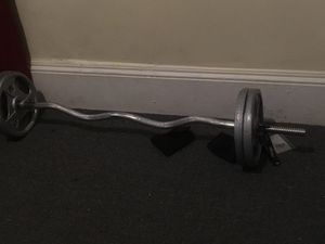 Bar +clamps + weights (40lbs) for Sale in Bridgeport, CT