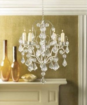 White and clear chandelier with hanging loop for ceiling for Sale in New York, NY
