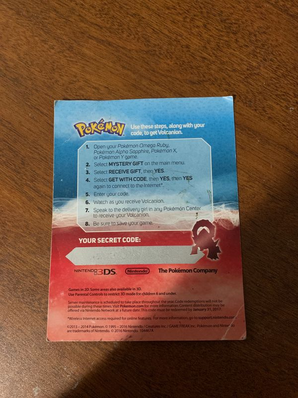 Volcanion download code for Pokémon X, Y, Alpha Sapphire, and Omega Ruby  for Sale in Reynoldsburg, OH - OfferUp