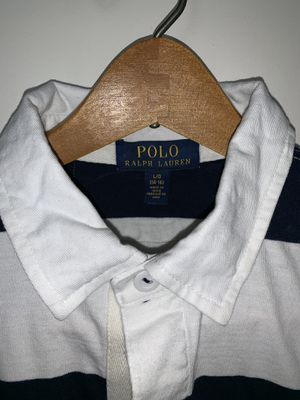 Men's Ralph Lauren Polo shirt. Size: L, Color: Navy Blue & White, Design: Polo Rugby for Sale in Chevy Chase, DC