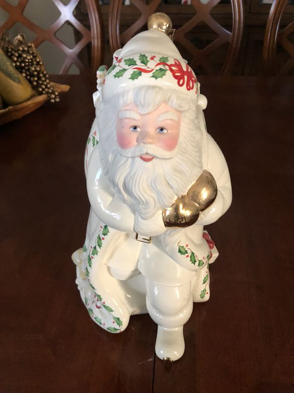 "Lenox 1999 ""Santa Skates to New Millennium"" Holiday Cookie Jar"