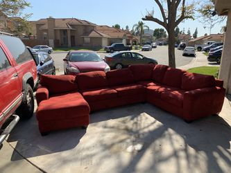 Red suede sectional couch/sofa for Sale in Riverside,  CA