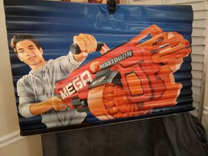 (#1)Nerf toy gun / hanging vinyl / rapid fire wall hanging vinyl exclusive to toy store cl for Sale in Naples, FL