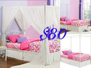 New White Twin Princess Canopy Bed NO MATTRESS $80 for Sale in Dallas, TX