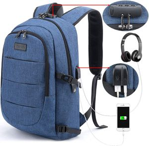 Brand New Backpack Water Resistant Anti-Theft College Bag with USB Charging Port & Lock Unisex Blue Business Hiking Luggage Outdoor Bag for Sale in Queens, NY