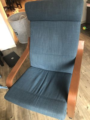 Blue chair with hillared dark blue cover for Sale in Washington, DC