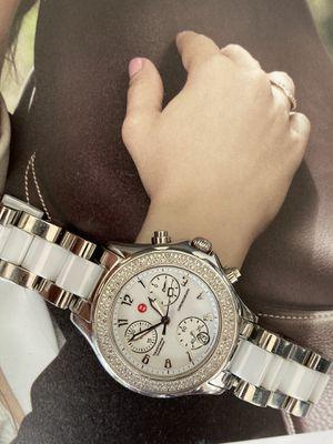 Tahitian Ceramic Stainless Steel White Diamond Ladies Watch. Fixed stainless steel bezel set with 100 diamonds.Chronograph, Swiss made quartz movemen for Sale in Miami, FL