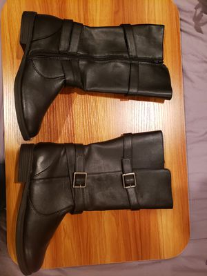 Bongo girls black faux leather boots with buckles for Sale in San Jose, CA